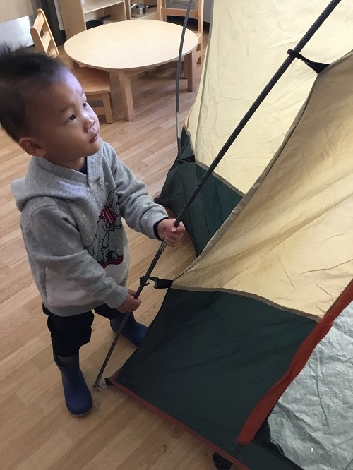 Toddler boy examines the pole of the tent