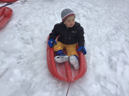 Child sitting in a sled