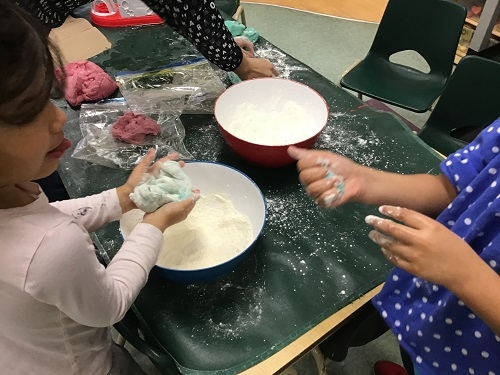Children playing with their home made dough