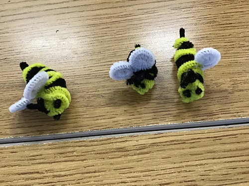 Bumble bees made with yellow and black pipecleaners