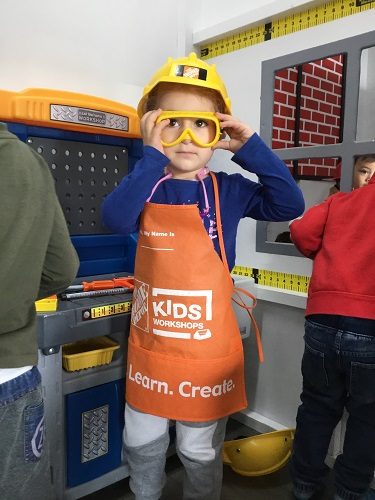 Child dressed up as construction worker